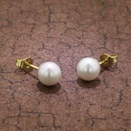 trendor 08377 Gold Pearl Earrings Cultured Freshwater Pearls White