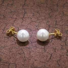 trendor 08378 Gold Damen-Ohrringe mit Süßwasser-Zuchtperlen
