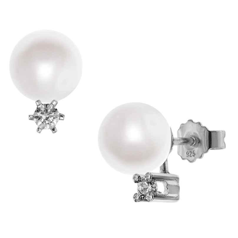 trendor 08388 Silber Ohrringe mit Süßwasser-Zuchtperlen Weiß 4260497083887