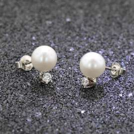 trendor 08388 Silver Earrings Cultured Freshwater Pearls White
