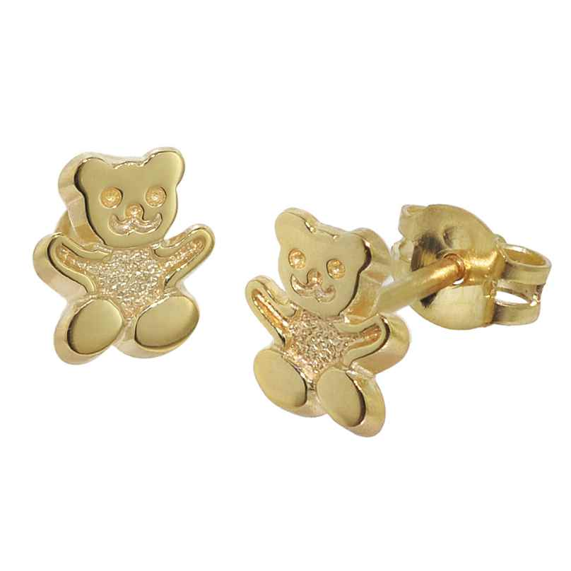 trendor 08486 Kinder-Ohrstecker Teddy 333/8 Karat Gold 4260497084860