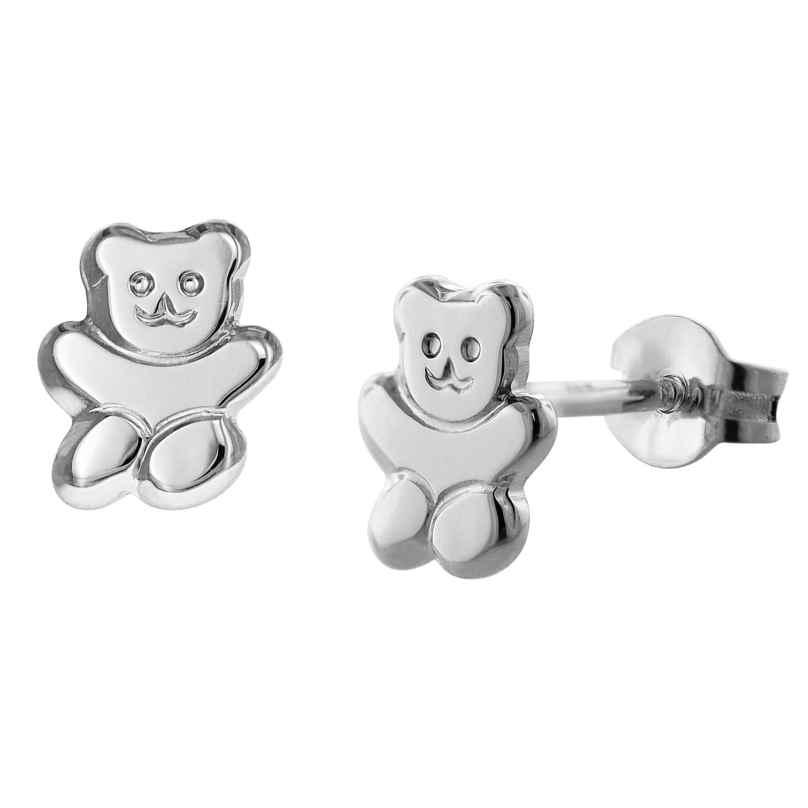 trendor 08487 Teddybär Mädchen-Ohrringe Silber 4260497084877