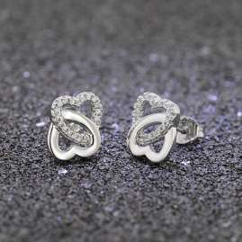trendor 08604 Silver Earrings Entwined Hearts