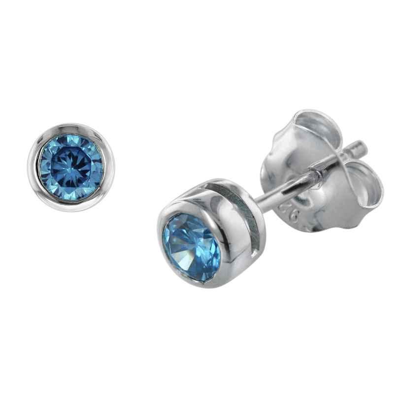 trendor 08766 Ohrringe Silber 925 Ohrstecker mit hellblauen Zirkonias 4260497087663