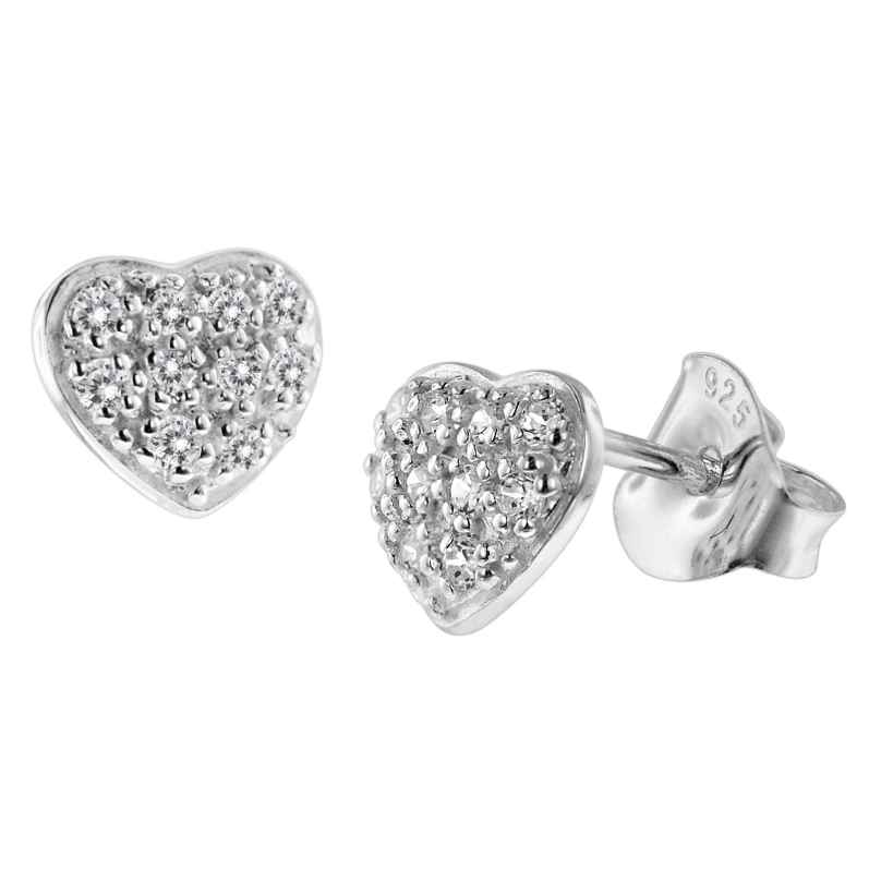 trendor 08771 Silver Earrings Heart with Cubic Zirconias Pavé 4260497087717