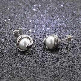 trendor 08778 Ohrringe Silber 925 Ohrstecker Weiße Glasperle