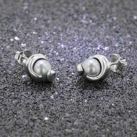 trendor 08779 Silver Earrings Grey Glass Pearl