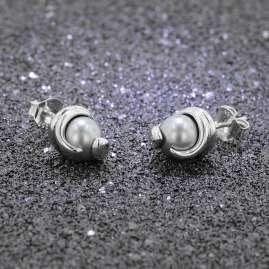 trendor 08779 Ohrringe Silber 925 Ohrstecker Graue Glasperle