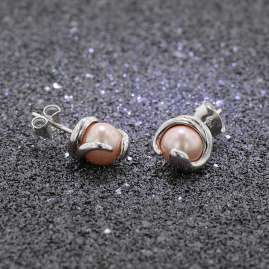 trendor 08780 Silver Earrings Pink with Glass Pearl