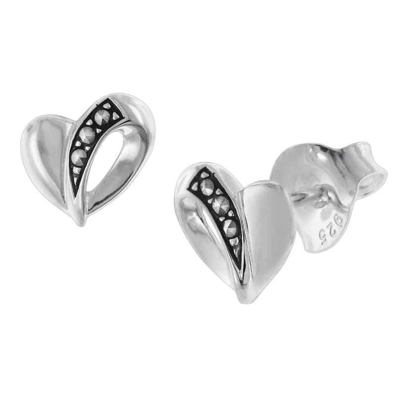 trendor 08781 Ohrringe Silber 925 Ohrstecker Herz mit Markasiten 4260497087816