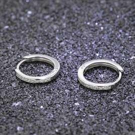 trendor 08827 Women's Hoop Earrings White Gold 585 12 mm Cubic Zirconia