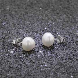 trendor 08898 Silver Ladies' Stud Earrings with Cultured Freshwater Pearls