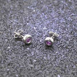 trendor 08915 Silver Stud Earrings Cubic Zirconia Purple 5,5 mm