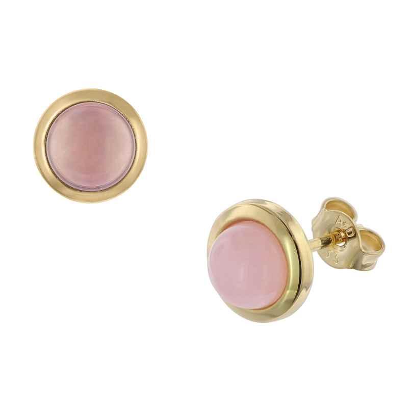 trendor 08916 Ohrringe Gold 333 Rosa Chalcedon 4260497089162