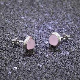 trendor 75025 Ohrringe für Damen Silber 925 mit Rosa Chalcedon