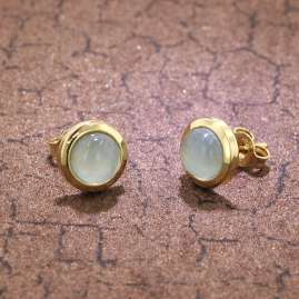trendor 75037 Ladies' Earrings Gold 333 with Blue Chalcedony 8.5 mm