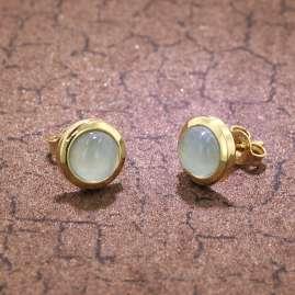 trendor 75037 Ohrringe 333 Gold mit blauem Chalcedon 8,5 mm