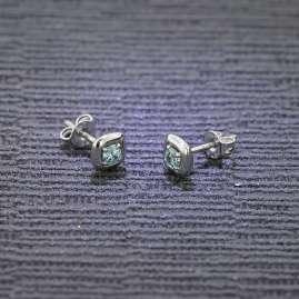 trendor 75082 Ohrringe für Frauen Silber 925 mit Mintfarbenem Zirkonia 6 mm