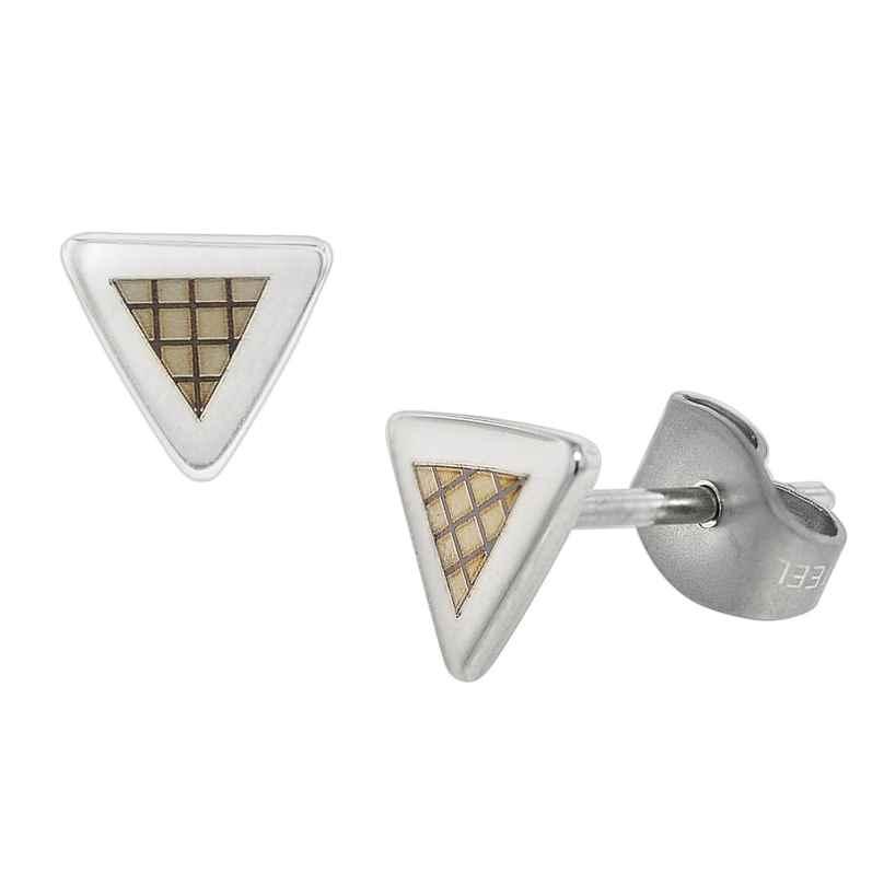 trendor 75071 Stud Earrings for Men Stainless Steel with Laser Engraving 7 mm 4260641750719