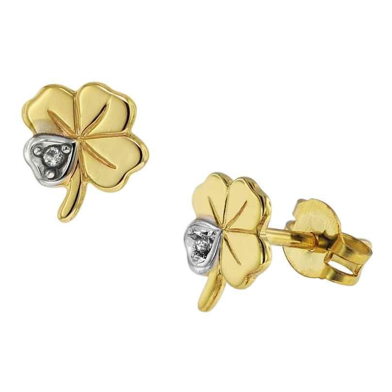 trendor 75094 Earrings Shamrock/Cloverleaf 333 Gold 8 Carat Two-Colour 4260641750948