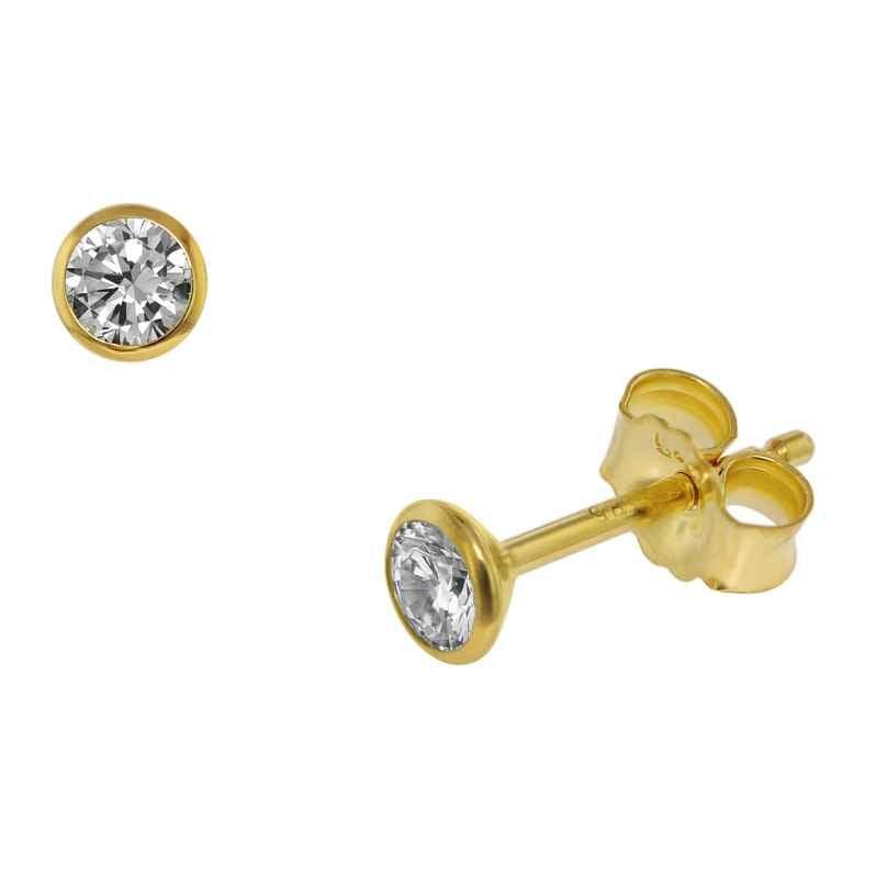 trendor 75098 Ohrstecker für Damen und Herren 585 Gold (14 Kt) Zirkonia 3,5 mm 4260641750986
