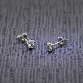 trendor 75103 Studs for Women and Men 585 White Gold (14 ct) 4.5 mm