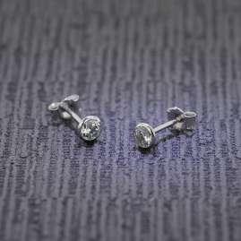 trendor 75103 Ohrringe für Damen und Herren 585 Weißgold 14 Karat 4,5 mm