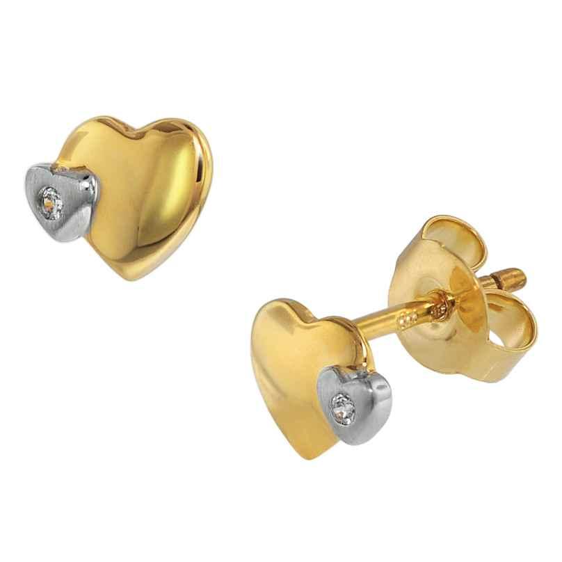 trendor 75108 Ohrringe für Kinder 333 Gold/8 Kt Bicolor Doppelherz Zirkonia 4260641751082