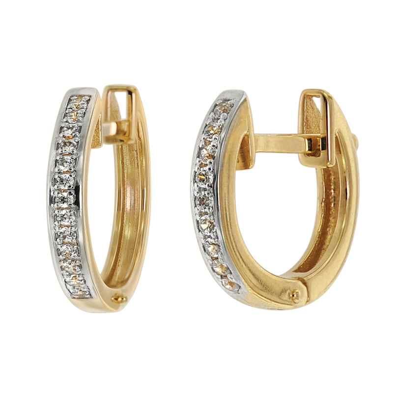 trendor 75361 Scharnier-Creolen Ohrringe 14 mm Gold 585 / 14K Zirkonias 4260641753611