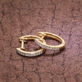 trendor 75361 Scharnier-Creolen Ohrringe 14 mm Gold 585 / 14K Zirkonias