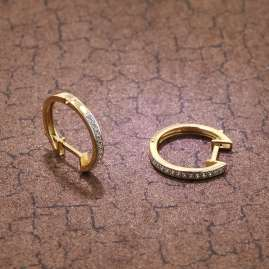 trendor 75363 Women's Hoop Earrings 16 mm Gold 585 / 14K Cubic Zirconias
