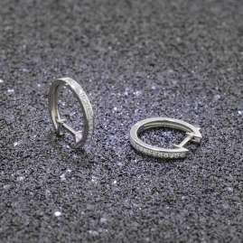 trendor 75364 Hoop Earrings 16 mm White Gold 585 / 14K Cubic Zirconias
