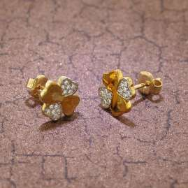 trendor 75565 Ladies' Earrings Four-Leaf Clover Gold 333 / 8 Carat