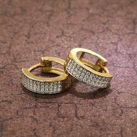 trendor 75566 Hinged Hoop Earrings 14 mm Gold 333 / 8K Cubic Zirconia