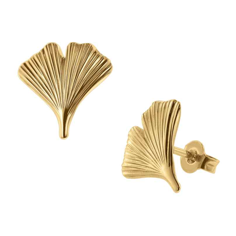 trendor 75723 Stud Earrings Gingko Leaf Gold Plated Silver 4260641757237