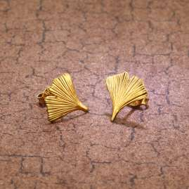 trendor 75723 Stud Earrings Gingko Leaf Gold Plated Silver