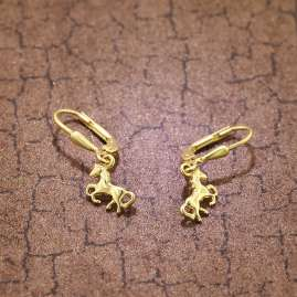 trendor 75815 Kids Earrings Horses Gold Plated Silver for Girls