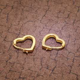 trendor 75838 Earrings Heart Hoops Gold Plated Silver