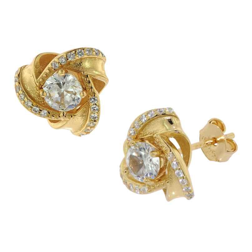 trendor 75839 Ohrringe Knoten Zirkonia Gold auf Silber Ohrstecker 4260641758395