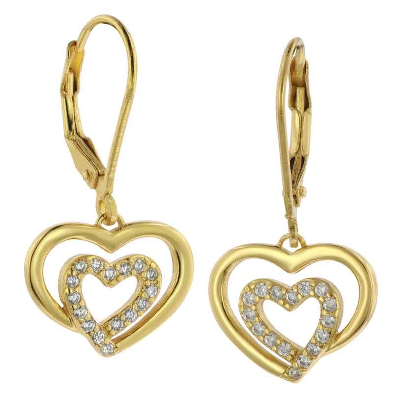 trendor 75840 Ohrringe Herzen Gold auf Silber Ohrhänger Zirkonia 4260641758401