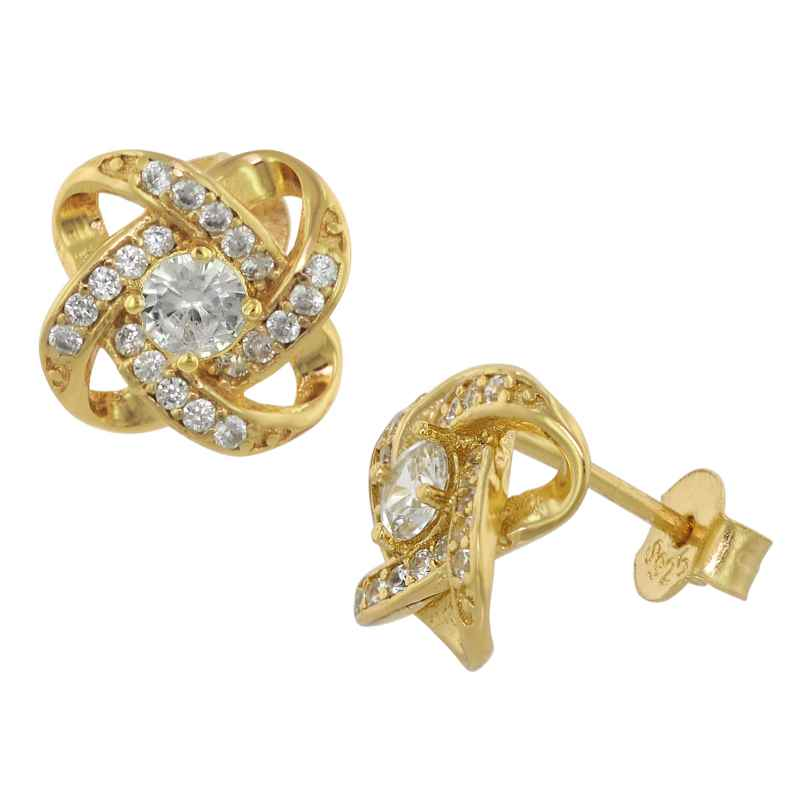 trendor 75841 Stud Earrings Gold Plated Silver Knot Cubic Zirconia 4260641758418