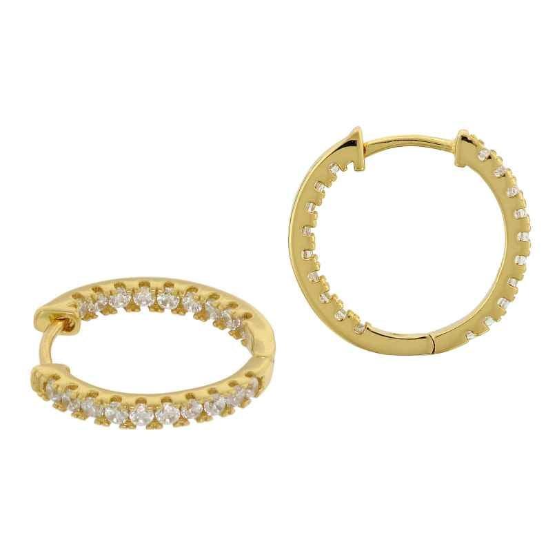 trendor 75845 Creolen Ohrringe Gold auf Silber Ø 19 mm Zirkonia 4260641758456