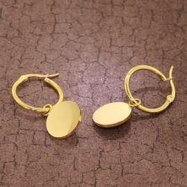 trendor 75898 Hoop Earrings with Pendant Gold Plated Steel