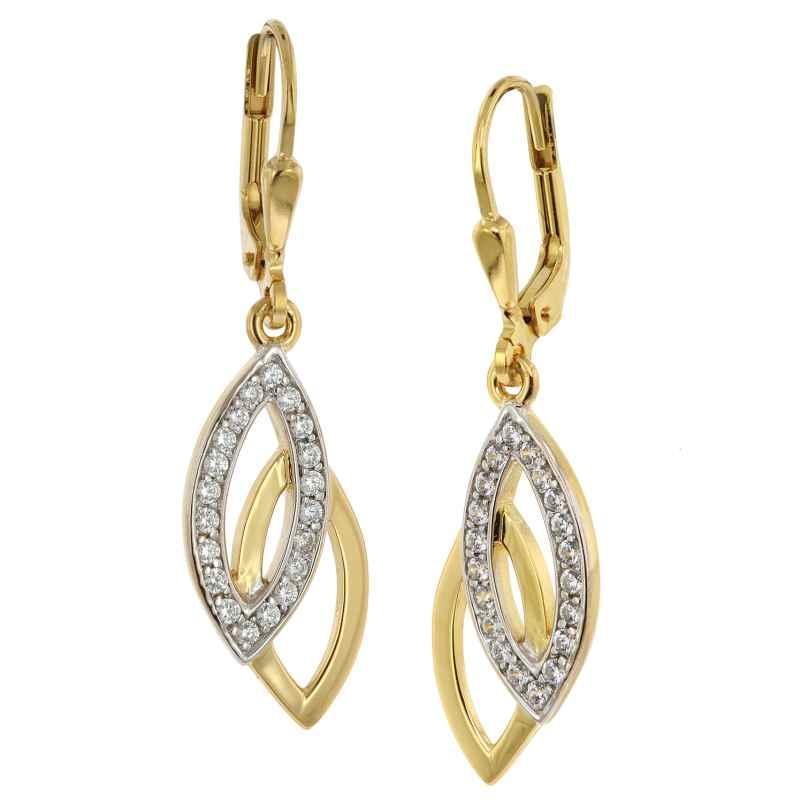 trendor 39012 Ohrringe Gold auf 925 Silber Zirkonia Ohrhänger 4260684390125