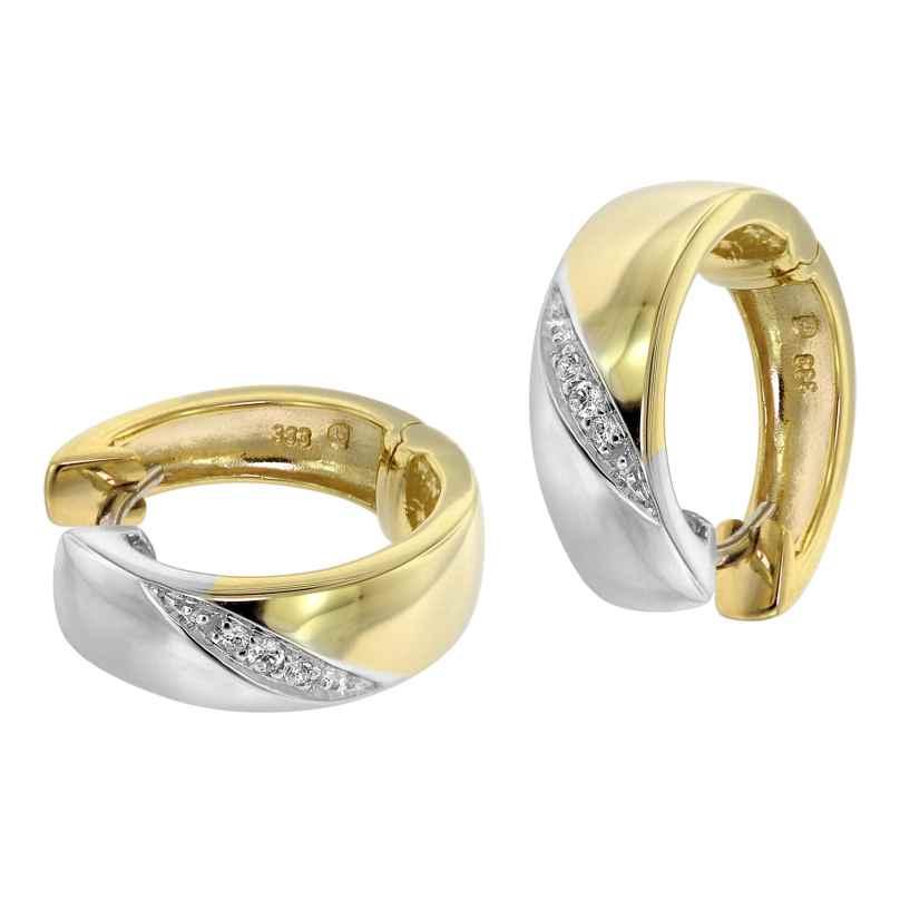 trendor 39062 Damen-Ohrringe Creolen Gold 333 Bicolor mit Zirkonia 4260684390620