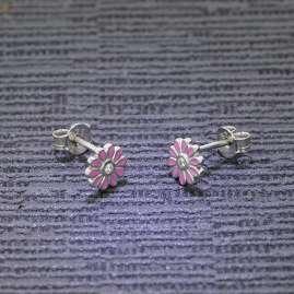 trendor 51035 Stud Earrings for Girls 925 Silver Flower Rose