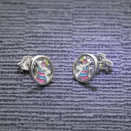 trendor 51039 Mädchen-Ohrringe Einhorn Ohrstecker 925 Silber