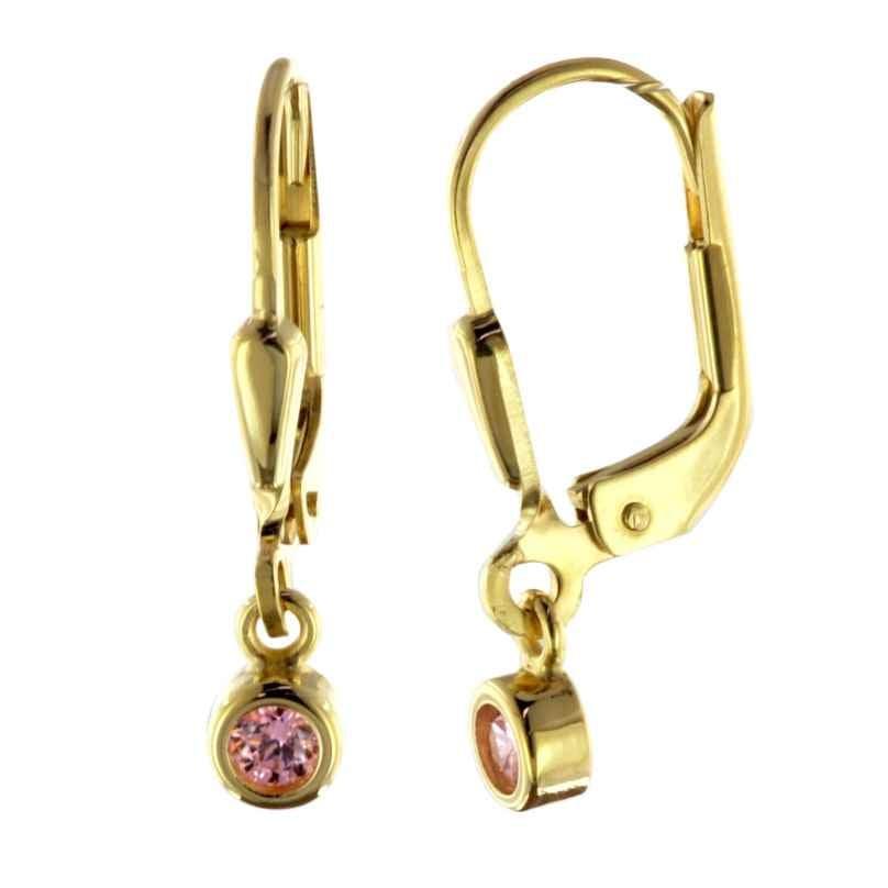 trendor 51096 Ohrringe Ohrhänger mit Pink-Zirkonia Gold 333 / 8 K 4260727510961