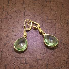 trendor 51178 Drop Earrings Gold Plated Silver 925 with Light Green Quartz