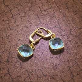 trendor 51181 Damen-Ohrringe Silber vergoldet Ohrhänger mit hellblauem Quarz